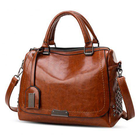 PU Leather Rivet Handbag Large Capacity Shoulder Diagonal Cross Bag - BROWN
