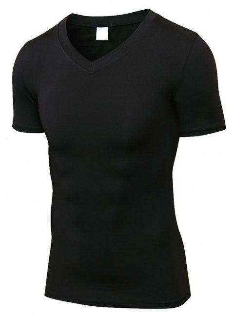 Men 's Fitness T-shirt court à séchage rapide - Noir L