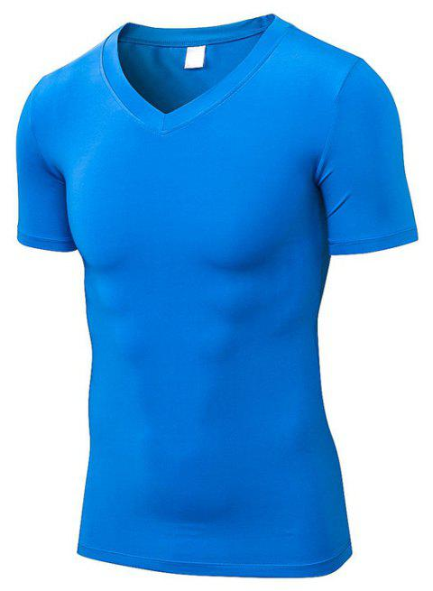 Men 's Fitness T-shirt court à séchage rapide - Bleu S