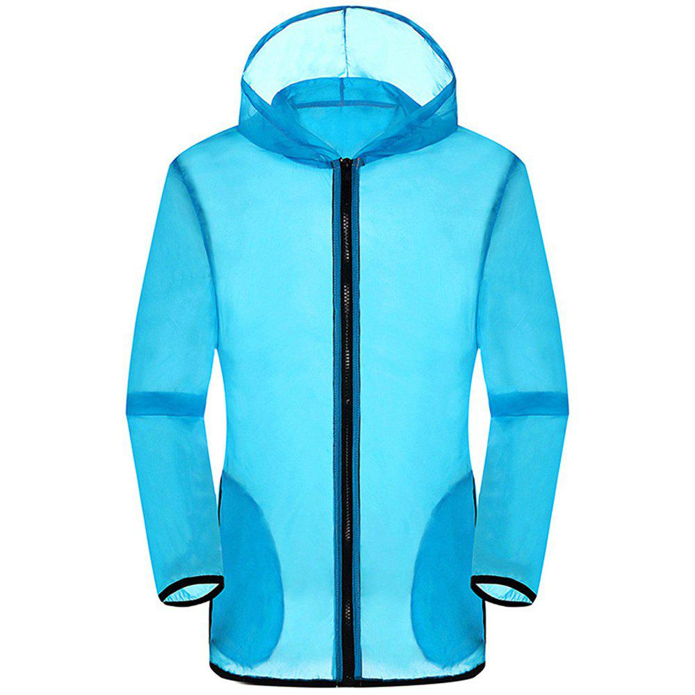 New Summer Ultra-Thin Breathable Long Sleeve Sun Protection Clothing - DEEP BLUE L