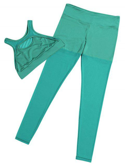 Round Neck Cut Out High Waist Spliced Mesh Elastic Yoga Sports Suit - GREEN L