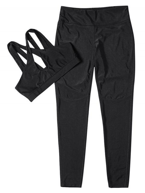 Fitted Yoga Sports Suit Crop Top Long Pant Solid Color Sportswear - BLACK M