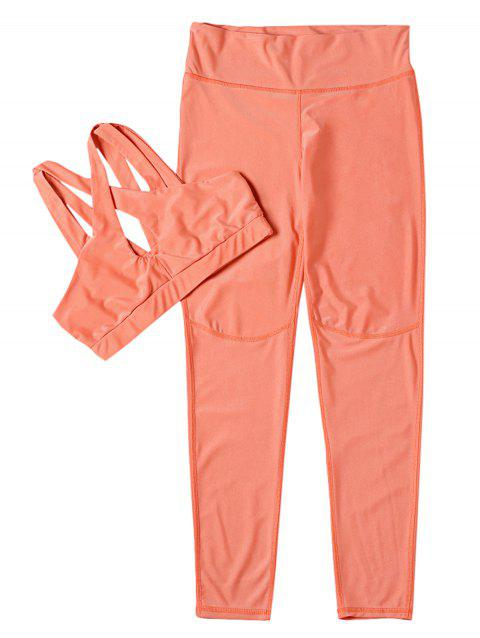 Fitted Yoga Sports Suit Crop Top Long Pant Solid Color Sportswear - CORAL L