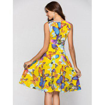 Round Collar Sleeveless Butterfly Print Belted A-line Dress - SUN YELLOW L