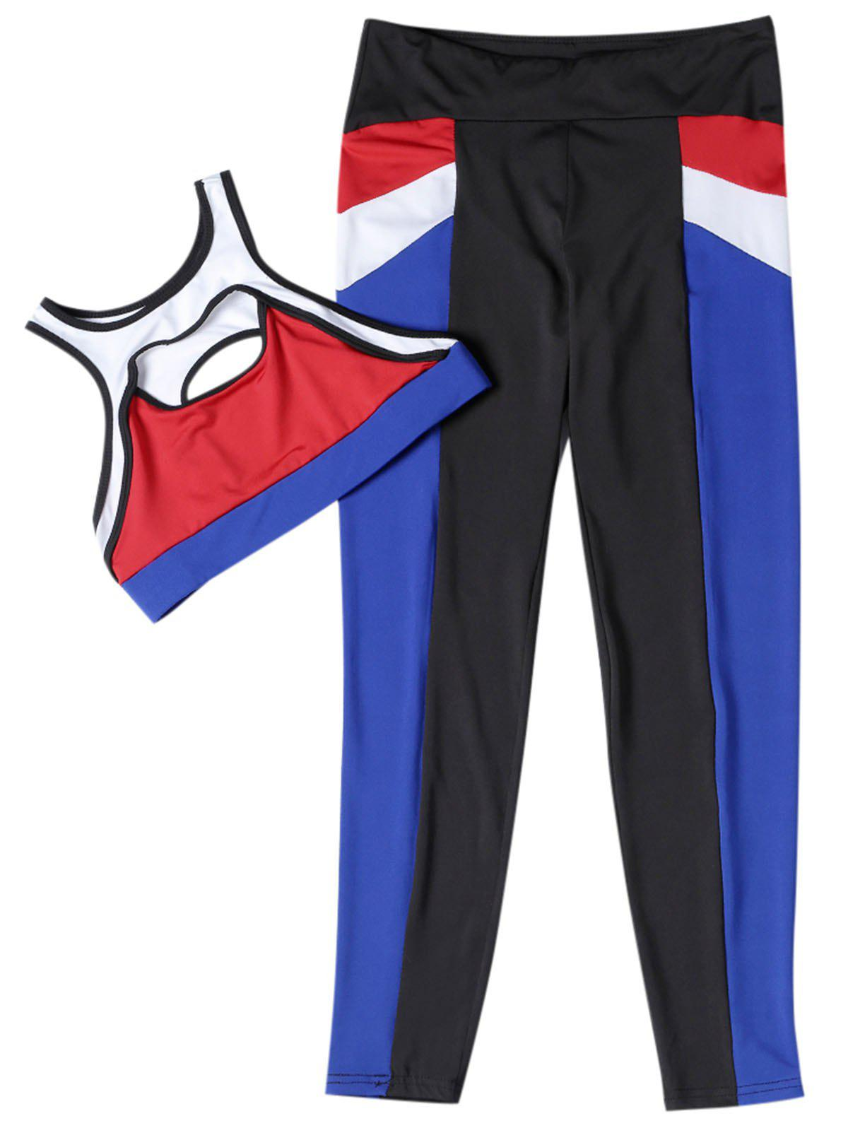 Fitted Yoga Sports Suit Crop Top Long Pant Color Blocking Sportswear - multicolor S