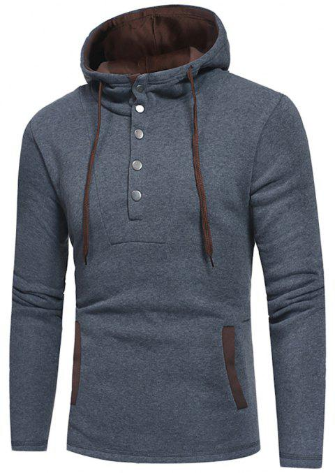 Men's Fashion Button Stitching Hit Color Hooded Long-Sleeved Slim Sweater - GRAY XL