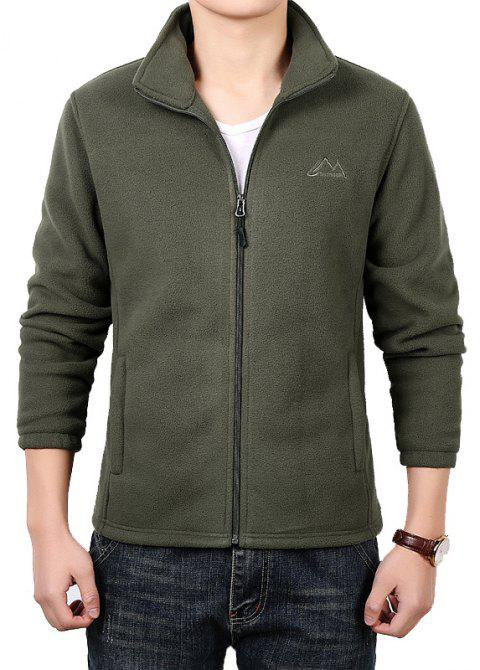 Men Casual Jacket Thicken Long Sleeve Stand Collar  Clothing - ARMY GREEN L