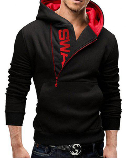 Men of Letters Side Zipper Head Hit Color Sweatshirt - BLACK/RED 2XL