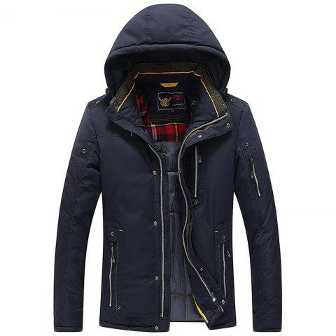 Men Quilted  Solid Color Hooded Casual Trendy Thicken Coat - DEEP BLUE M
