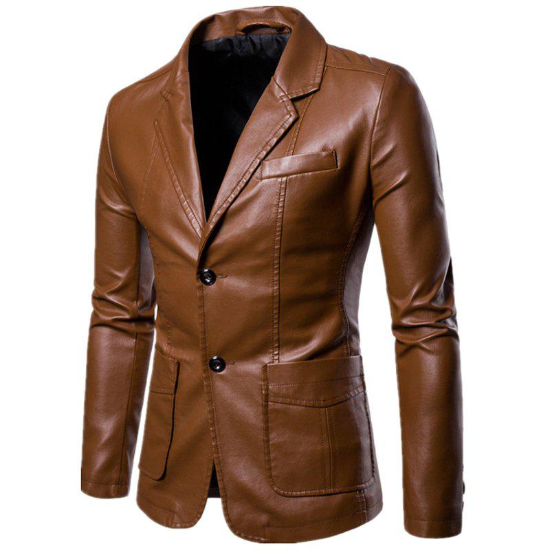 Men'S Lapel Fashion Leather Jacket - DARK KHAKI 2XL