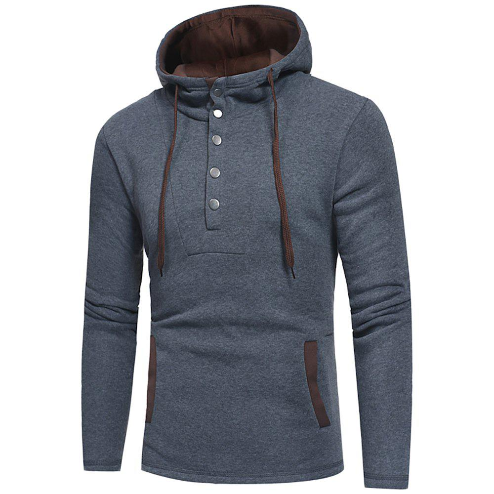 Men's Fashion Button Stitching Hit Color Hooded Long-Sleeved Slim Sweater - GRAY 2XL