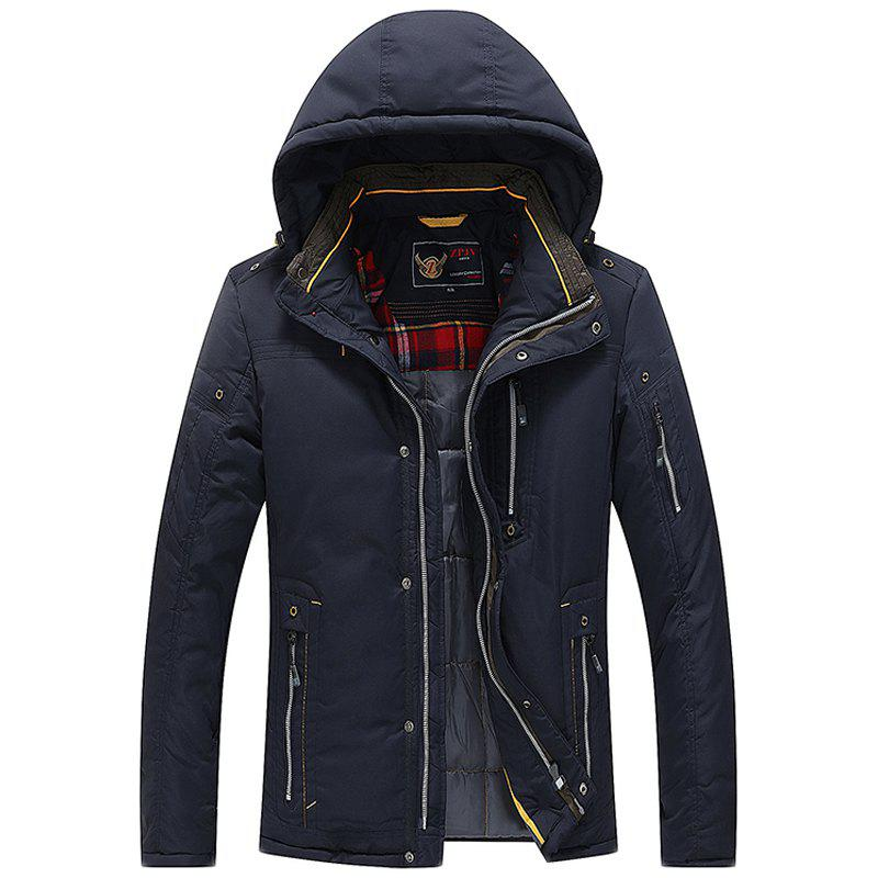 Men Quilted  Solid Color Hooded Casual Trendy Thicken Coat - DEEP BLUE XL