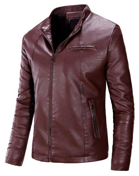Men'S Fashion Collar Leather Jacket - RED WINE XL
