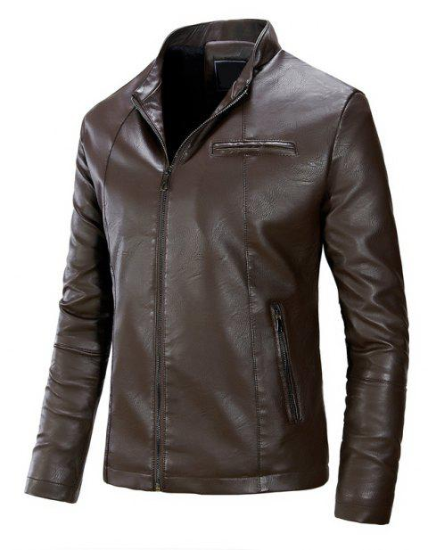Men'S Fashion Collar Leather Jacket - DEEP COFFEE M