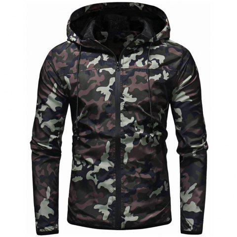 Fashion Men's Camouflage Casual Wild Hooded Jacket - ARMY GREEN L