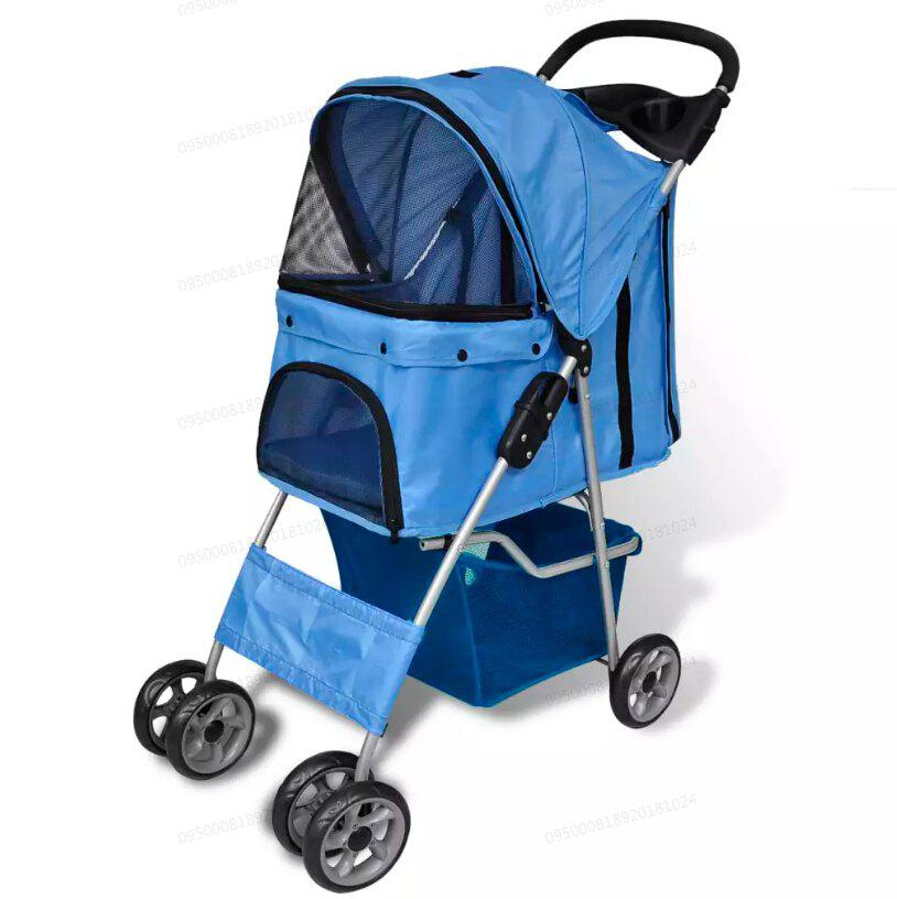 vidaXL Folding Pet Stroller Dog / Cat Travel Carrier 170056 - Bleu