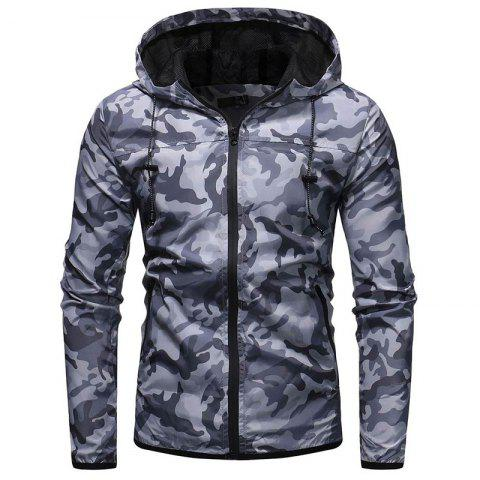 Fashion Men's Camouflage Casual Wild Hooded Jacket - LIGHT GRAY 2XL