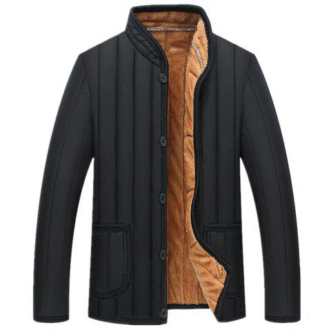 Man Cotton-Padded Clothes Black Thick Leisure Time Coat - BLACK 2XL