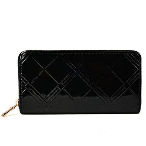 Women'S Purse Plaid Pattern Solid Color Plain Style Casual All Match Chic Purse - BLACK