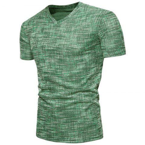 Men's Casual  Solid Color Slim Fit Short Sleeve Cotton T-shirts - SPRING GREEN 2XL
