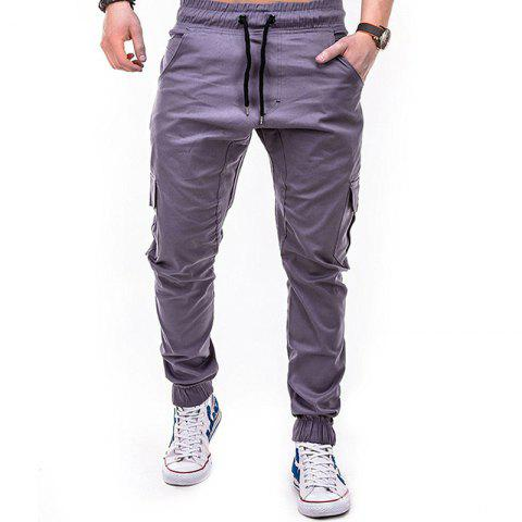 Men's Solid Color Side Pockets Tether Elastic Belt Casual Beam Pants - GRAY XL