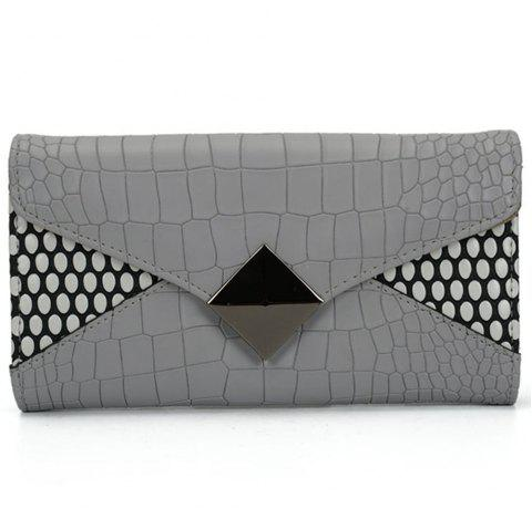 Women's Wallet Solid Color Short Pattern Letter Decor Chic Stylish Bag - GRAY