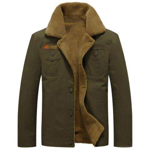 Men's Casual Daily Simple Fall Winter Fleece Jacket Solid Stand Long Sleeve Coat - ARMYGREEN XL