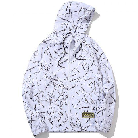 Men's Summer Sun Protection Graffiti Jacket - WHITE 4XL