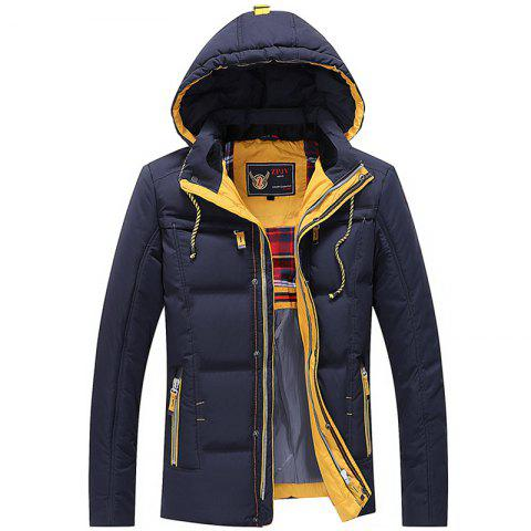 Men Quilted  Solid Color Long Sleeve Trendy Warm Hooded Coat - DEEP BLUE XL