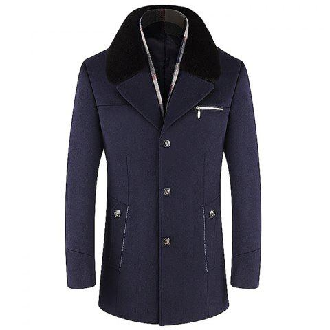 Men Trench Single Breasted Comfy Turn Down Collar Coat - DEEP BLUE XL