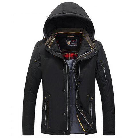 Men Quilted  Solid Color Hooded Casual Trendy Thicken Coat - BLACK L