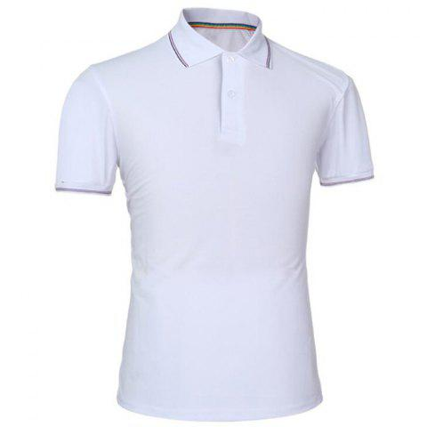 Men Pure Color Turndown Collar Short Sleeve Polo Shirt - WHITE L