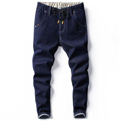 Men's Fashion Trend Elastic Jeans - DEEP BLUE 34