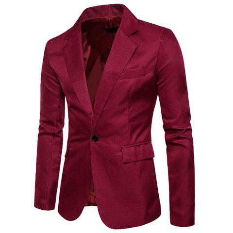 Men Spring Turndown Collar Long Sleeve Suit - WINE RED 3XL