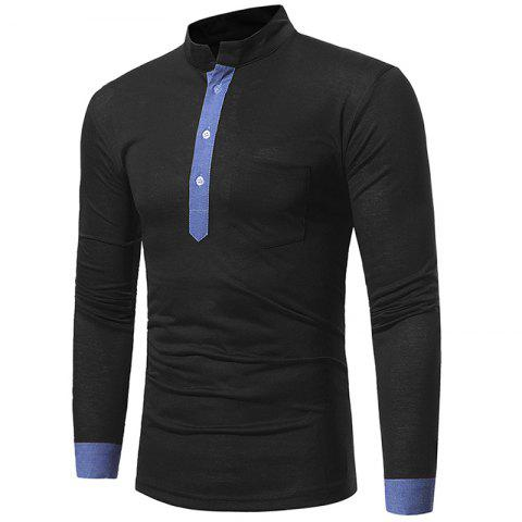 Men's Casual Slim Stand Collar Solid Color Long Sleeve T-Shirt 5218 - BLACK L