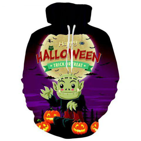 Men's 3D Print Pumpkin Imp Ghost Halloween Hoodie - DARK VIOLET M