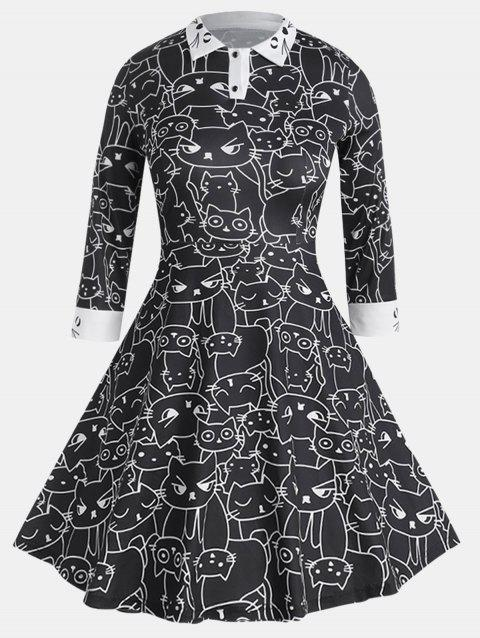 Casual Fit Long Sleeve Turn-down Collar Printing Dress - BLACK XL