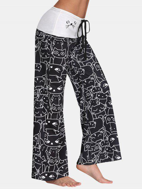 Cat Print Wide-leg Drawstring Mid Waist Long Pants - BLACK 2XL