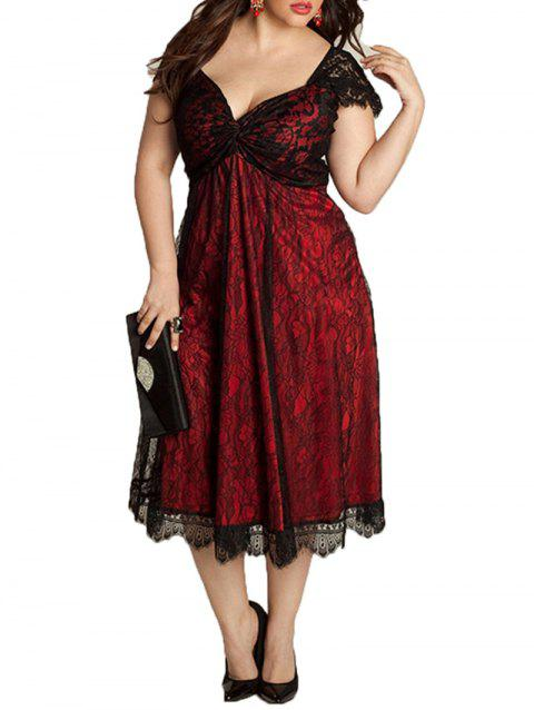 European and American Large Size Elegant Lace Stitching V-Neck Gothic Dress - RED 5XL