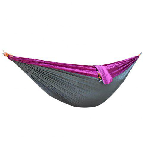 2 Person Hammock Assorted Color Portable Parachute Nylon Fabric for Indoor Outdoor Use - PURPLE/GREY