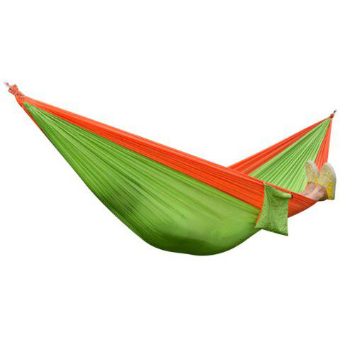 2 Person Hammock Assorted Color Portable Parachute Nylon Fabric for Indoor Outdoor Use - ORANGE/APPLE GREEN