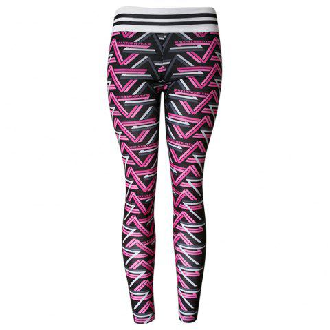 Stripes Weave Print High Waist Women Tights Pants Leggings for Yoga Running - PINK S