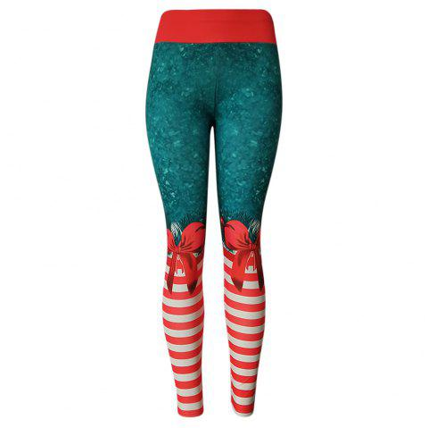 High Waist Skinny Elastic Stripe Print Yoga Christmas Leggings Women Long Pants - RED XL