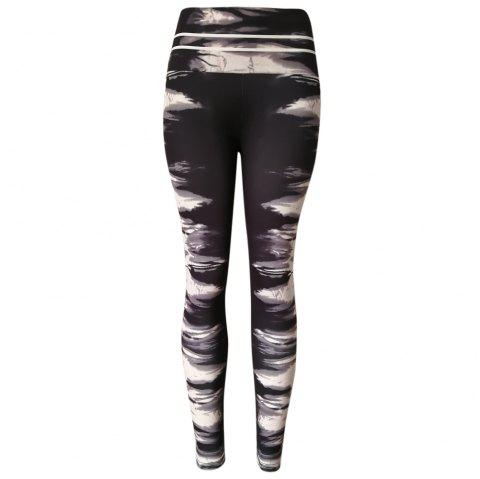 Ink Marks Patterns High Waist Women Tights Pants Leggings for Yoga Running - BLACK M