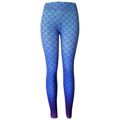 High Waist Fish Scale Print Gradient Color Skinny Elastic Leggings Women Long Pants - DODGER BLUE XL