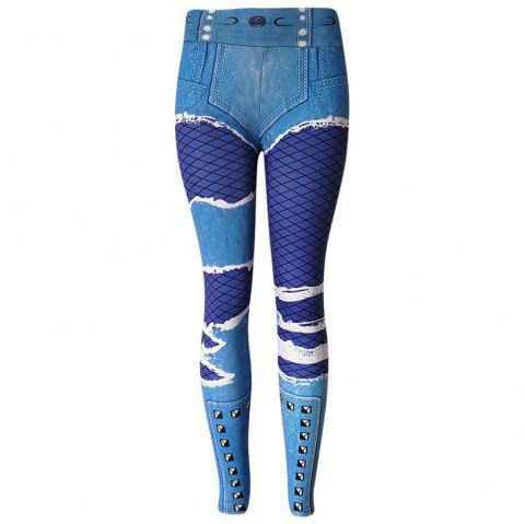 Mid Waist Skinny Elastic Stimulated Jeans Print Leggings Women Pants - SILK BLUE S