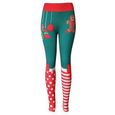 High Waist Skinny Elastic Color Blocking Christmas Print Leggings Women Long Pants - RED S