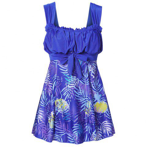 Shoulder Strap Backless Padded Ruffle Leaf Print Mid Waist Two Piece Women Tankini Set - COBALT BLUE L