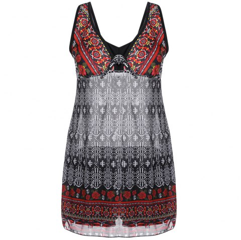 Plunge Neck Backless Padded Floral Ethnic Print Mid Waist Women Tankini Set - CHESTNUT RED L