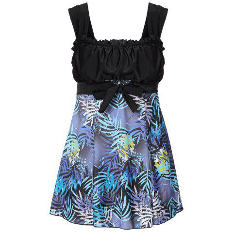 Shoulder Strap Backless Padded Ruffle Leaf Print Mid Waist Two Piece Women Tankini Set - BLACK S
